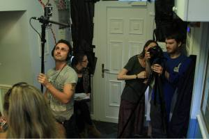 The scene from the filming of the Hard Knocks Hostel web series.