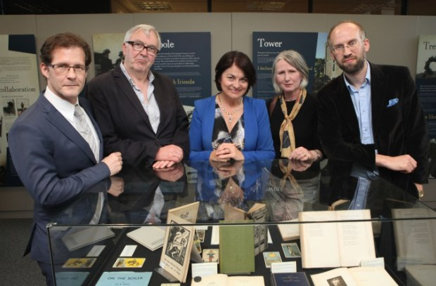Prof. Daniel Carey, Ronnie O'Gorman, Sen. Fidelma Healy Eames, Sen. Susan O'Keeffe, and Dr. Adrian Paterson, at the launch of the 'Yeats & the West: an exhibition of western worlds' at Hardiman Research Building, NUI Galway, 13 July 2015.