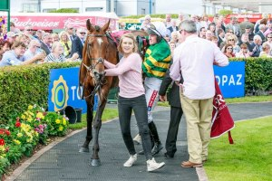 Galway Races Summer Festival 2014, Barry Geraghty and Jacksonslady managed to fend off a host of runners in the closing stages of Latin Quarter Handicap.
