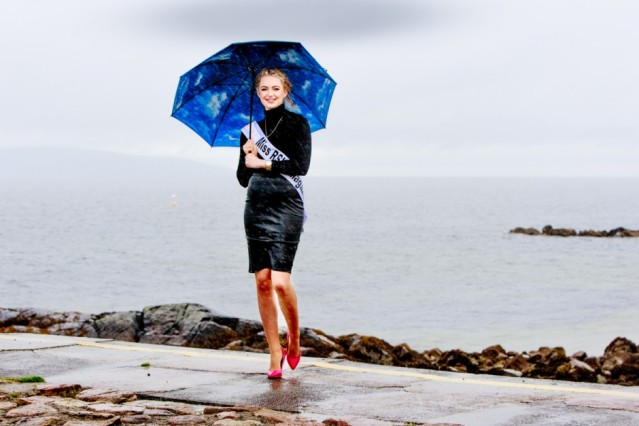 Amy Talbot dancing in the rain before Miss Ireland Contest