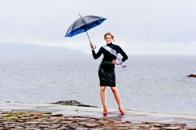 Amy Talbot dancing in the rain before Miss Ireland Contest. Photo by Darius Ivan