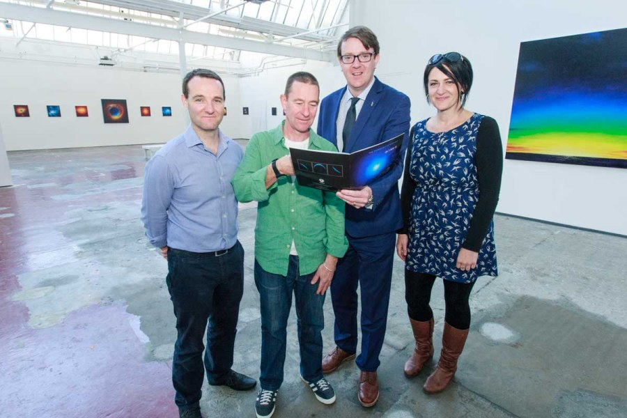 David Muldoon, Jim Kavanagh, Cllr. Niall McNellis and Bernice Kirwan of Cope Galway at the exhibition of Jim Kavanagh 'The Cosmological Sublime' in the Market Street Gallery in Connacht Tribune Print Works! Exhibition ends 13th September. Photo by Darius Ivan
