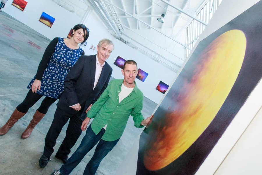 Bernice Kirwan of COPE Galway, David Hickey and Jim Kavanagh at the exhibition of Jim Kavanagh  'The Cosmological Sublime' in the Market Street Gallery in Connacht Tribune Print Works! Exhibition ends 13th September. Photo by Darius Ivan