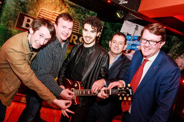 Paul Connolly of The Wood Burning Savages, Gary Monroe of Monroe's Live, Darragh Whyte of D-Day, John Hardiman of the Clonmel and Cllr. Niall McNelis at the launch of Rocktoberfest 2015 in Monroe's Live. Photo Darius Ivan