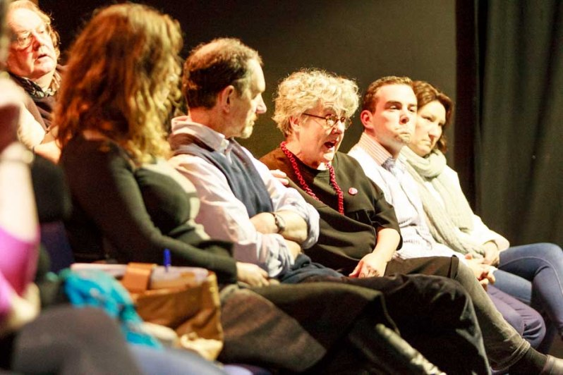 Tánaiste Joan Burton at cultural brainstorming in The Town Hall Theatre. Photo by Darius Ivan