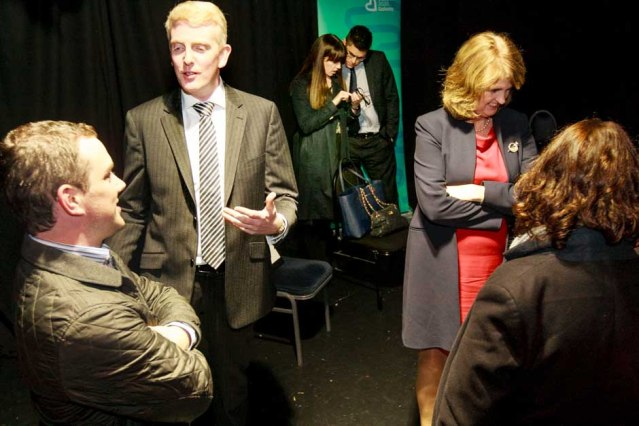 Derek Nolan TD. and Tánaiste Joan Burton at cultural brainstorming in The Town Hall Theatre. Photo by Darius Ivan