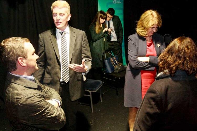 Derek Nolan TD. and Tánaiste Joan Burton at cultural brainstorming in The Town Hall Theatre. Photo by Darius Ivan