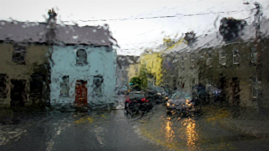 image of Galway city through wet glass