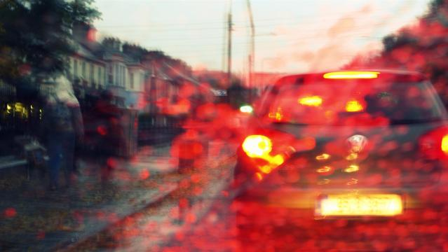 image of Galway city through wet glass, traffic