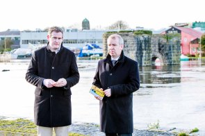 Brian Walsh TD and Sean Kyne TD pictured planing the strategy for election on Woodquay in Galway. Photo by Darius Ivan