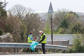 Cllr. Donal Lyons cleaning Knocknacarra with Glan Suas Gaillimh last April...