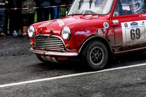 Historic category winner with nomber 69 Ray Cunningham/Adrian CusackMorris Cooper S with time 2:00:29.8 at Corrib Oil Galway International Rallly 2016. Saturday 6th February Stage at Corcally Beg. Photo by Darius Ivan, sponsored by Mileage Tyres Galway, www.mileagetyresgalway.ie