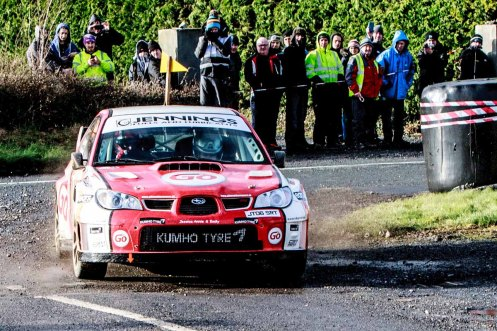 Garry Jennings/Rory Kennedy on Subaru Impreza 555 with time 1:42:57.7 winners of the International category at Corrib Oil Galway International Rallly 2016. Saturday 6th February Stage at Corcally Beg. Photo by Darius Ivan, sponsored by Mileage Tyres Galway, www.mileagetyresgalway.ie