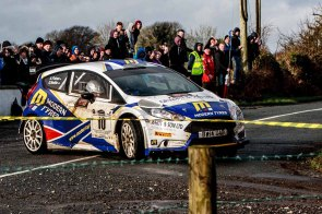 3rd in International category to Alastair Fisher/Gordon NobleFord Fiesta R5 with time of total 1:46:39.6,3:41.9 after first and0:16.5 after previous at Corrib Oil Galway International Rallly 2016. Saturday 6th February Stage at Corcally Beg. Photo by Darius Ivan, sponsored by Mileage Tyres Galway, www.mileagetyresgalway.ie