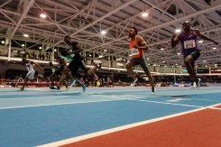 CHERRY D'Angelo from USA 6.58 gold, Diondre BATSON 6.62 silver and Ramon GITTENS from Brazil 6.65 bronze from 60m on AIT GRAND PRIX 2016 Athlon IT. Photo by Darius Ivan www.irishtv.ie