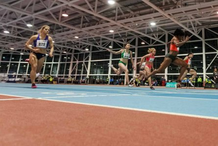 Barbara PIERRE 7.12 USA Gold, Olesya POVKH 7.23 from Ukraine second and Amy FOSTER 7.33 Ireland bronze on 60m at AIT GRAND PRIX 2016 Athlon IT. Photo by Darius Ivan www.irishtv.ie