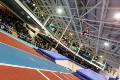 Canadian Shawn BARBER landing with gold at 5.77m Pole Vault leaving Sam KENDRICKS from USA 5.86 secpmd amd Max EAVES GBR 5.61 at AIT GRAND PRIX 2016 Athlon IT. Photo by Darius Ivan www.irishtv.ie