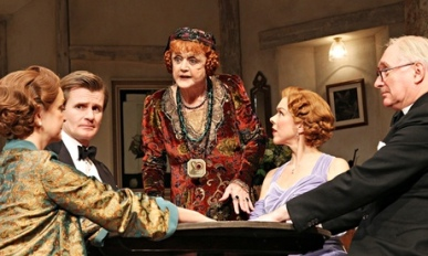 'Sharp-edged': Serena Evans, Charles Edwards, Angela Lansbury, Janie Dee and Simon Jones in Blithe S