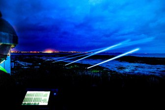 Eoin Burke and Kieran Cooney presenting their Sky-Light Show from Mutton Island Sunday after sunset. Photo Darius Ivan