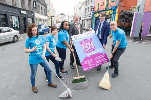 GALWAYS BIG BIG CLEAN UP launch, Wednesday 11th May 2016 | Pictured on the canal are Mayor Cllr. Frank Fahy, deputy mayor Cllr. Niall McNelis and Volunteer Galway team: Helen Ogbu, Ruth Fagan (standing), Donncha Foley and Kasia Szewczuk. Photo by Darius Ivan #icGalway360 #icc360 #craicingalway #galway2020