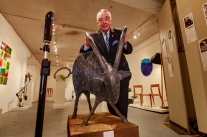 Padraig Conneely captured with his hands on €4400 goat at the opening of Design Work Exhibition 2017 in Niland Gallery on Merchant Road in Galway, Monday 17th July. | Sculptur art by Donnacha Cahill, photo by Darius Ivan divmedia.ie