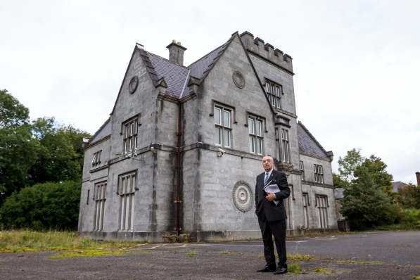 Cllr. Padraig Conneely Chairperson of the Arts & Cylture Special Committee of Galway City Council outside of Lenaboy Castle on Taylors Hill which has been donated to Galway City Council by the Convent of Sisters of Mercy Order for the use as a Youth Arts & Culture Centre for the City.