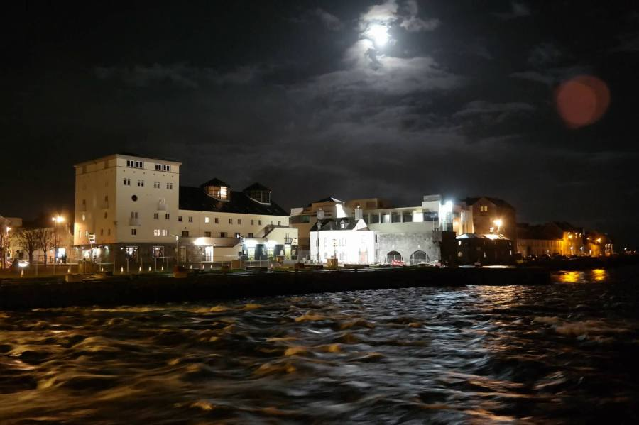 Moon Over Spanish Arch in Galway