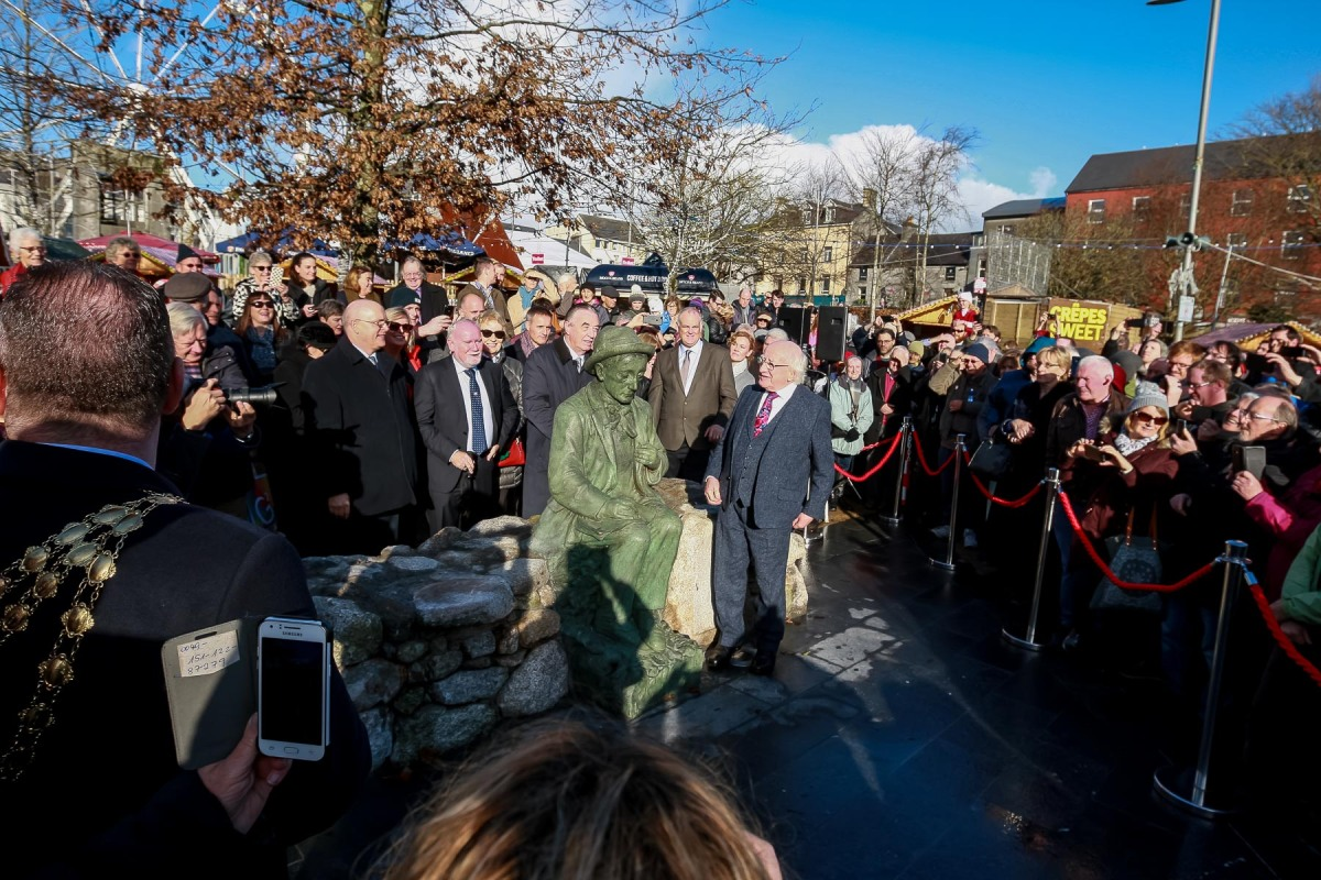 Pádraic Ó Conaire Back to Eyre Square | Sculpture Unveiled by president Michael D.