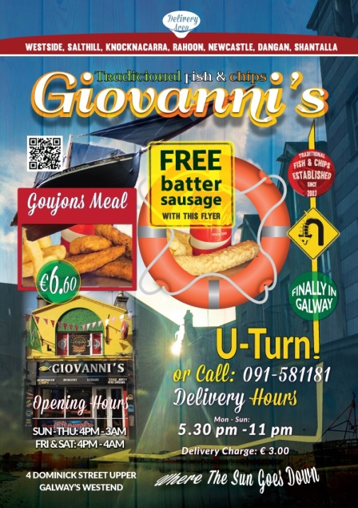 Giovanni's Galway | Get Free Batter Sausage Today!
