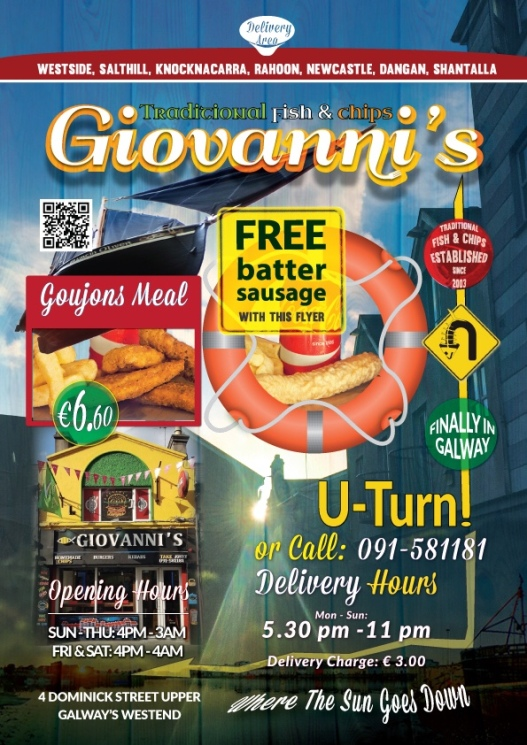 Giovanni's Galway   Get Free Batter Sausage Today!