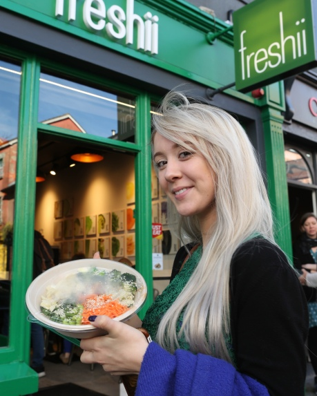 To celebrate the opening of Freshii in Galway, the global healthy fast food restaurant chain invited Galwegians to Eat and Energize for FREE on Thursday. Pictured was Shannon Holian-Galway. Photograph by Aengus McMahon