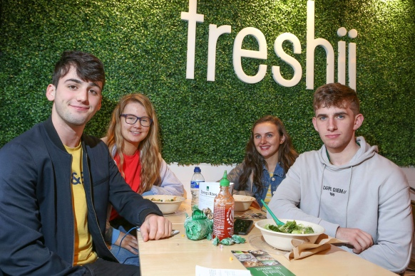 To celebrate the opening of Freshii in Galway, the global healthy fast food restaurant chain invited Galwegians to Eat and Energize for FREE on Thursday. Pictured are Ben Garrard-Claranbridge, Nicole Shaw-Oranmore, Alice Fitzpatrick-Athenry, Tiernan Dowd-Oranmore Photograph by Aengus McMahon