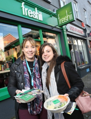 To celebrate the opening of Freshii in Galway, the global healthy fast food restaurant chain invited Galwegians to Eat and Energize for FREE on Thursday. Pictured are Marie Colmer and Shauna Cunniffe of RDJ Solicitors. Photograph by Aengus McMahon