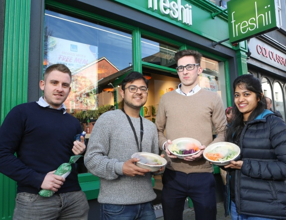 To celebrate the opening of Freshii in Galway, the global healthy fast food restaurant chain invited Galwegians to Eat and Energize for FREE on Thursday. Pictured are Ross Doyle-Longford Pankaj Juneja-Galway Adam Curry-Tuam Vinita Gaikwad-Galway. Photograph by Aengus McMahon