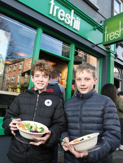 To celebrate the opening of Freshii in Galway, the global healthy fast food restaurant chain invited Galwegians to Eat and Energize for FREE on Thursday. Pictured are Senan McDonnel Ewan Hynes- both 'The Bish'. Photograph by Aengus McMahon