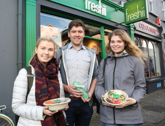 To celebrate the opening of Freshii in Galway, the global healthy fast food restaurant chain invited Galwegians to Eat and Energize for FREE on Thursday. Pictured are Sandra Bryla-wexford Finbar Conlon-Drogheda Clare Lacey-wexford. Photograph by Aengus McMahon